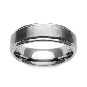 Titanium Brushed Hammered Recessed Edge 5mm Ring