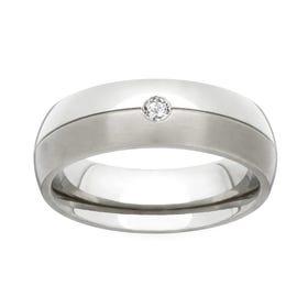 Titanium and Diamond 6mm Ring