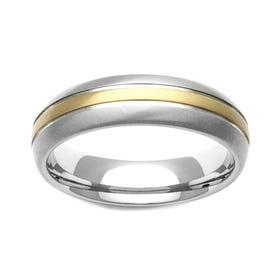 Titanium and 18ct Gold Inlaid Stripe 7mm Ring