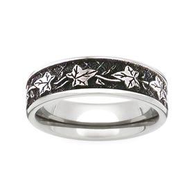 Titanium Leaf Engraved 7mm Ring - Sample
