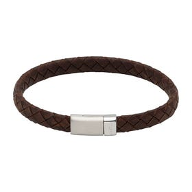 Dark Brown Leather Bracelet with Steel Magnetic Clasp - Sample