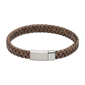 Antique Grey Leather Bracelet with Steel Magnetic Clasp - Sample