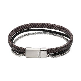Antique Black Double Leather Chain Bracelet with Magnetic Clasp - Sample