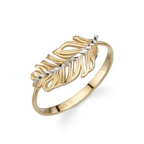 9ct Gold Diamond-Cut Feather Ring - Sample
