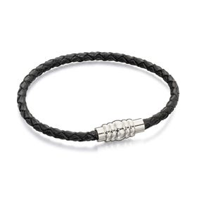 Black Leather Bracelet with Magnetic Steel Clasp - Sample