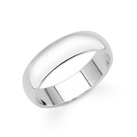 9ct White Gold D-Shaped Wedding 5mm Ring - Sample