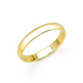 9ct Yellow Gold D-Shaped Wedding 3mm Ring - Sample