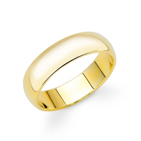 9ct Yellow Gold D-Shaped Wedding 5mm Ring - Sample
