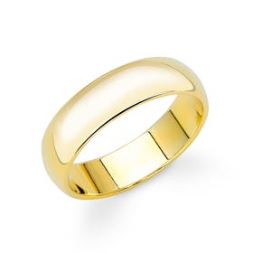 9ct Yellow Gold D-Shaped Wedding 6mm Ring - Sample