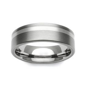 Titanium and 9ct White Gold Off-Centre Stripe 7mm Ring - Sample