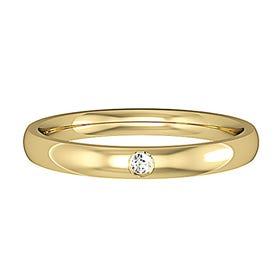 9ct Gold Diamond Court Wedding 2.5mm Ring