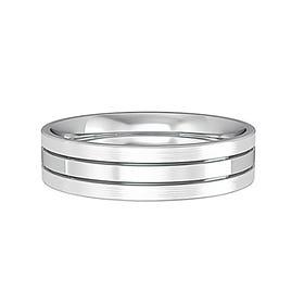 9ct White Gold Flat Court Striped Wedding 5mm Ring