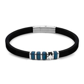 City Blue PVD Steel North Star Silicone Bracelet