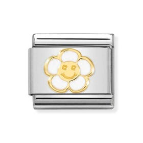 Classic Gold Flower with Smile Charm