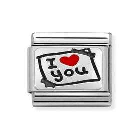 Classic Silver I Love You Post-it Note Charm