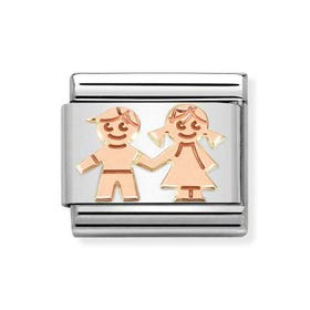 Classic Rose Gold Children Holding Hands Charm