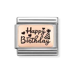 Classic Rose Gold Happy Birthday Celebration Charm