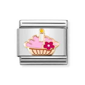 Classic Rose Gold Cupcake with Candle Charm