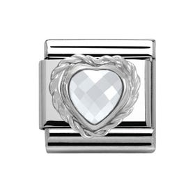 Silver & Steel Sparkling Heart Classic Charm