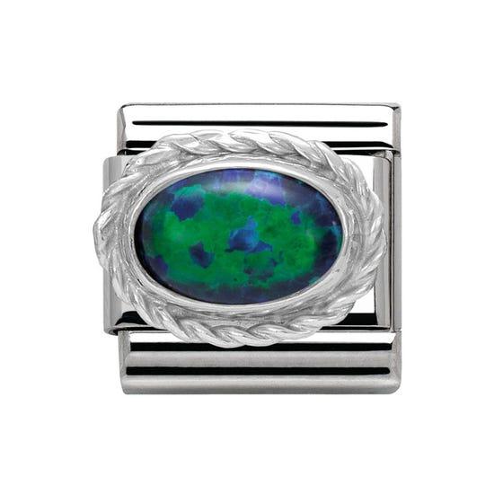 Framed Opal Stone Classic Charm