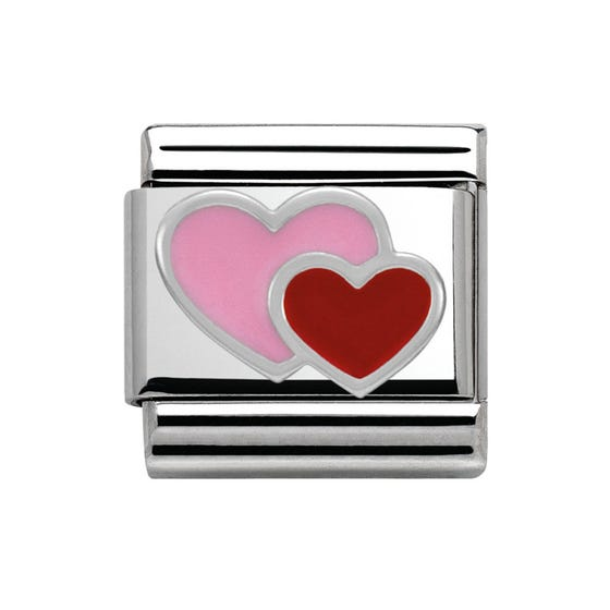 Pink & Red Double Heart Classic Charm