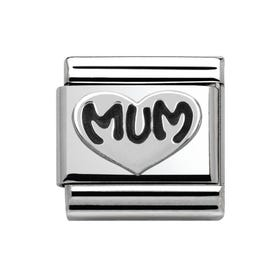 My Family Silver Mum Love Heart Classic Charm