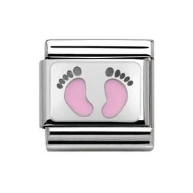 Classic My Family Baby Pink Footprints Charm
