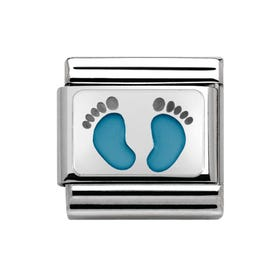 My Family Baby Blue Footprints Classic Charm