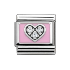 My Family Sparkling Pink Love Heart Classic Charm