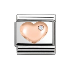 9ct Rose Gold Sparkling Heart Classic Charm