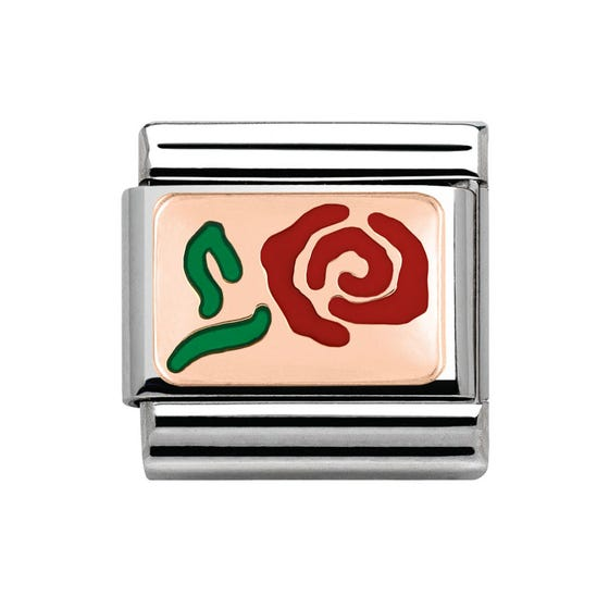 9ct Rose Gold & Red Enamel Rose Classic Charm