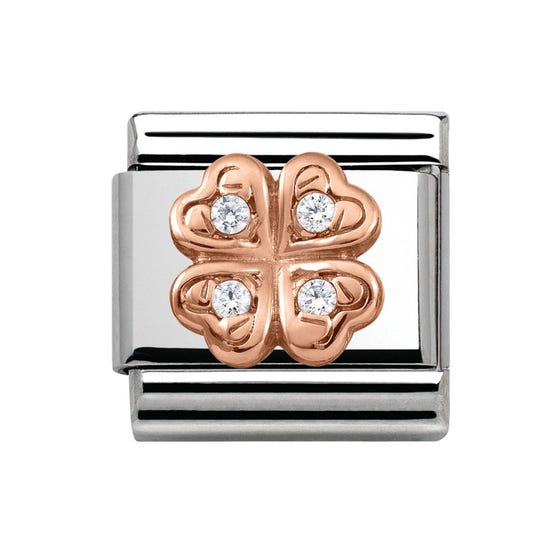 9ct Rose Gold & Cubic Zirconia Four-Leaf Clover Classic Charm