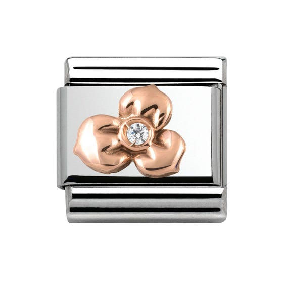 Rose Gold & Cubic Zirconia Flower Classic Charm