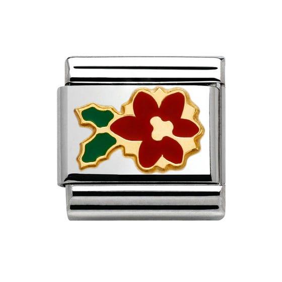 Gold & Enamel Poinsettia Flower Classic Charm