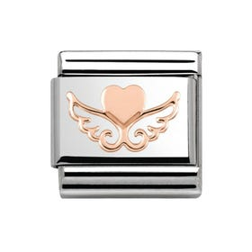 Rose Gold Angel Heart Charm