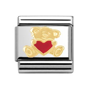 18ct Gold Bear with Red Heart Classic Charm