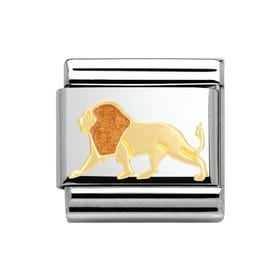 Stainless Steel, 18ct Gold and Enamel Lion Classic Charm
