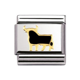 Stainless Steel & 18ct Gold Spanish Bull Classic Charm