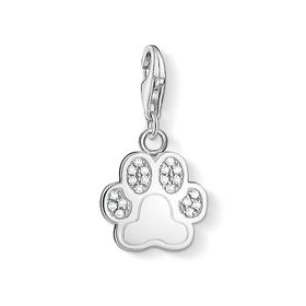 Sterling Silver Pave Paw Print Charm