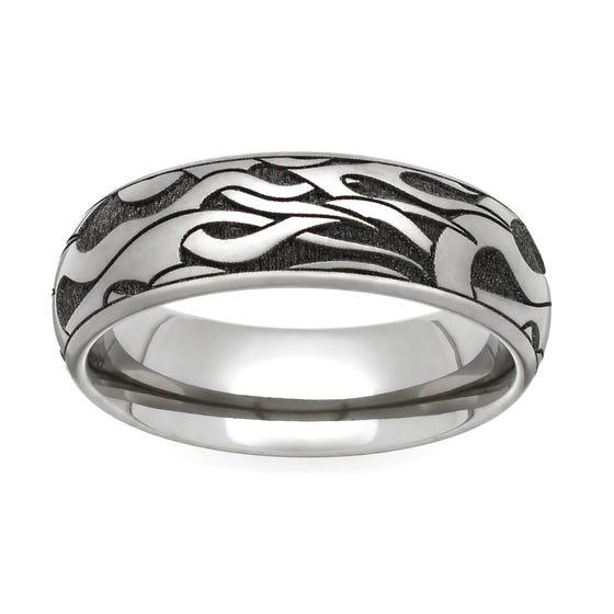 Titanium Flames Engraved 4mm Ring