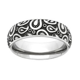 Titanium Paisley Engraved 4mm Ring