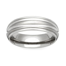 Titanium Shoulder Cut Dome 7mm Ring