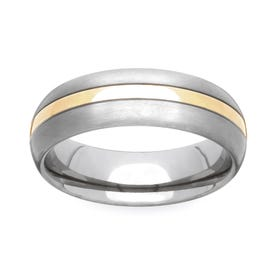 Titanium and Yellow Metal 5mm Ring