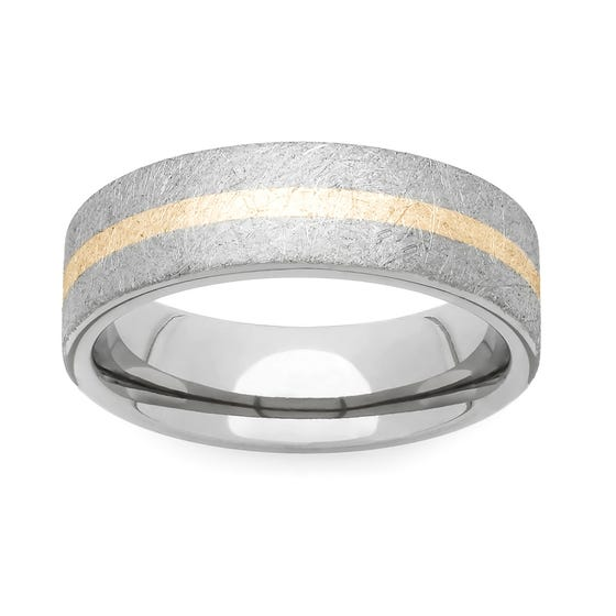 Titanium and Yellow Metal 4mm Ring