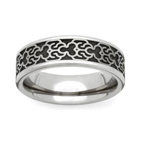 Titanium Baroque Engraved 6mm Ring