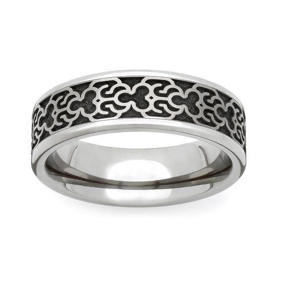 Titanium Baroque Engraved 6mm Ring