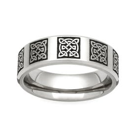 Titanium Celtic Knots Engraved 6mm Ring