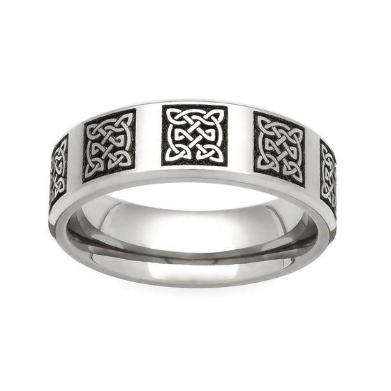 Titanium Celtic Knots Engraved 6mm Ring