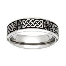 Titanium Flat Profile Celtic Engraved 5mm Ring