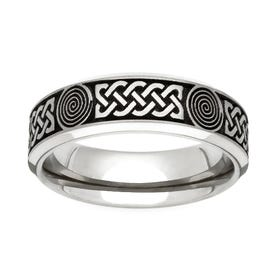Titanium Flat Profile Celtic Engraved 5mm Ring